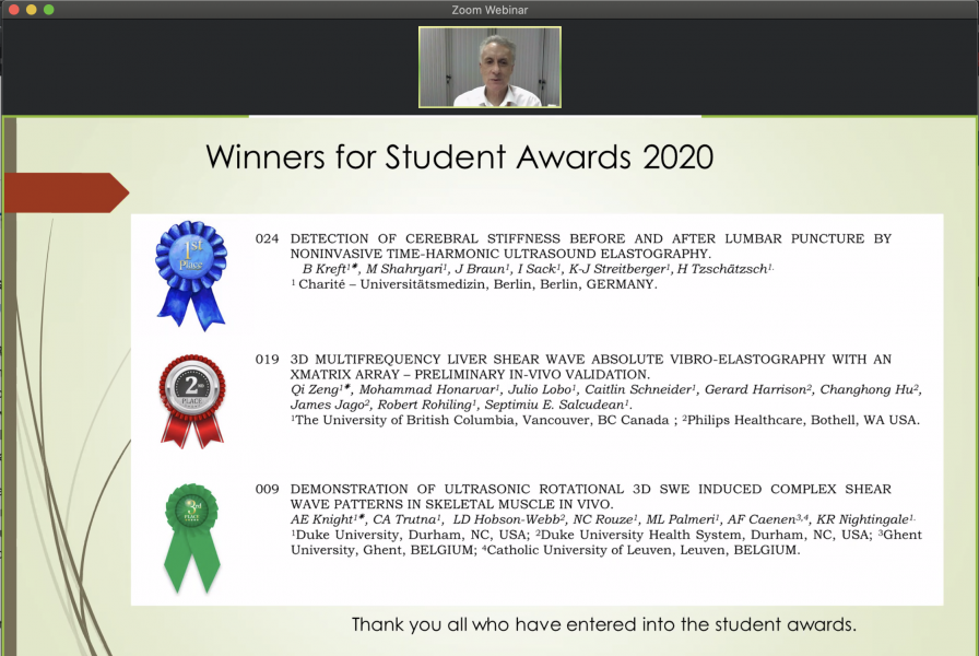 Screenshot of Zoom with Student Award Winners